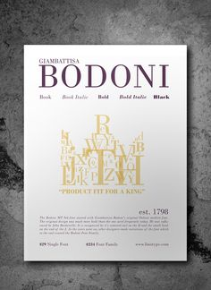 Bodoni MT Std Font Poster on Behance