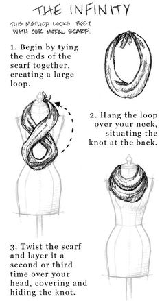 How To Tie A Scarf.Tie your own infinity scarf! Ways To Tie Scarves, Ways To Wear A Scarf, How To Wear Scarves, Wearing Scarves, Scarf Knots, Scarf Tutorial, Long Scarf, Autumn Inspiration, Scarf Styles