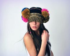 UTHA PomPompia ear warmers.. festival headdress.. door UTHAhats, $129.00