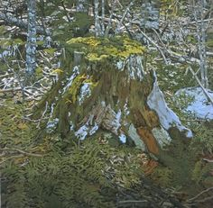 Neil Welliver  Stump, 2000  woodcut on Nishinouchi