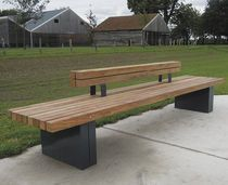 Contemporary public bench in wood and metal (with backrest)