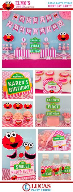Pink Elmo Sesame Street Inspired Birthday Party - DIY PRINTABLE Personalized Package FULL Collection - H2b