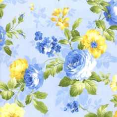 love this fabric - Yellow and Blue Roses Fabric Lovely floral fabric on a light blue background, from the Summer Breeze group by Moda. 100% cotton. 32460 12