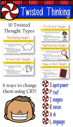 CBT for kids: 10 thought distortion cards with 6 strategies for challenging them. Small group curriculum included. https://www.teacherspayteachers.com/Product/CBT-Negative-Thought-Distortion-Irrational-Thinking-Challenges-for-Counseling-2928952