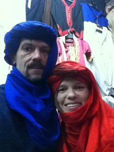 Fitting In: Taken in the Medina of Marrakech, Morocco. My wife and I donning the local silk. #travel