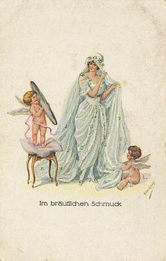 Vintage bride with cupids postcard