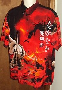 MT 2 Mens Red Camp Large Shirt MS-07 Gouf Gundam Graphic Dragon Japanese Letters