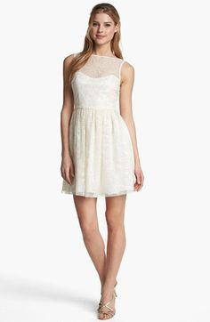 Little White Dress - go for an illusion top! This look: Jill Stuart Embellished Mesh Fit & Flare Dress available at #Nordstrom