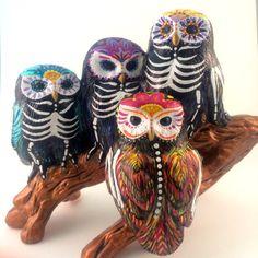 Day+of+the+Dead+owl+sculpture+Dia+de+los+Muertos+by+SpiritofAine