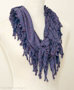 Blue & Coral Spotty Short Knotted Cowl Scarf