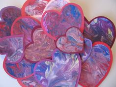 Shaving Cream Marbled Valentine Hearts