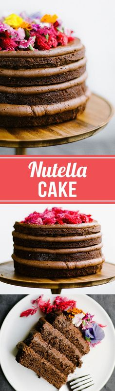 This decadent Nutella Cake features four layers of moist and tender Nutella chocolate cake with a generous helping of luscious Nutella buttercream. Decorated with edible flowers, this cake is perfect (Nutella Chocolate Mousse) Cupcake Recipes, Baking Recipes, Cupcake Cakes, Dessert Recipes, Nutella Chocolate Cake, Chocolate Desserts, Nutella Mousse, Baking Chocolate, Köstliche Desserts
