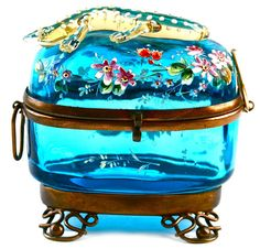 Antique Moser Bohemian Aqua Blue Enameled Art Glass Hinged Jewelry Trinket Box | eBay