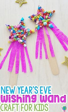 holiday activities This New Years Eve craft for kids is a fun way to ring in the new year with your preschooler! Work on fine motor skills with a simple paper craft for new Years! Try making this fun wishing wand with your kids this holiday season! Winter Crafts For Kids, Easy Crafts For Kids, Art For Kids, Craft Kids, Paper Craft For Kids, Craft Projects For Kids, Daycare Crafts, Preschool Crafts, Toddler Preschool
