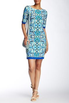 Elbow Sleeve Printed Shift Dress by Eliza J on @nordstrom_rack