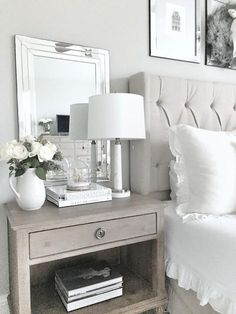 Nightstand Styling. Simple and elegant ways to style your nightstand. Bedroom Nightstand Styling. #Bedroom #NightstandStyling #NightstandStylingIdeas MyTexasHouse