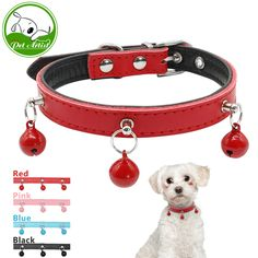 Soft Padded Leather Small Dog Puppy Collar Adjustable Cat Kitten Collars with Cute Bell 8-15 inches XS S M 4 Colors