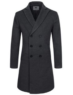 (NKDC7053) TheLees Mens Double Breasted Peaked Lapel Wool Blend Long Coat