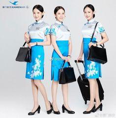 【China】 Xiamen Airlines cabin crew / 厦門航空 客室乗務員 【中国】 Airline Attendant, Flight Attendant, Beautiful Chinese Women, Airline Uniforms, School Dresses, Military Women, Chinese Style, Chinese Fashion, Cabin Crew
