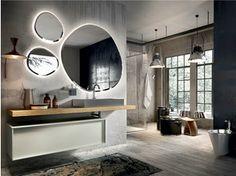 Mobile lavabo laccato sospeso con specchio REGOLO 324 - Edoné by Agorà Group