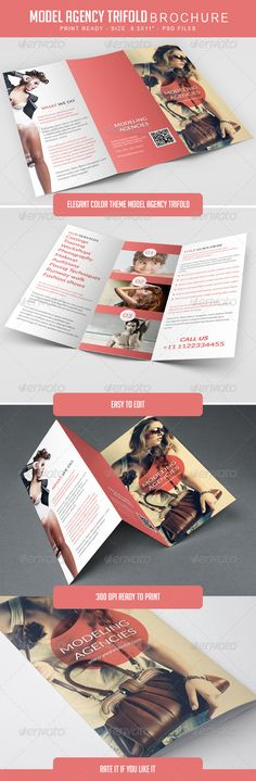 Modeling Agency Trifold Brochure — Photoshop PSD #agency #photography • Available here → https://graphicriver.net/item/modeling-agency-trifold-brochure/8008661?ref=pxcr
