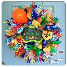 A personal favorite from my Etsy shop https://www.etsy.com/listing/385098596/birthday-mesh-wreath-paw-patrol-birthday