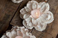 Plaster of paris crafts for kids - Flower Votive