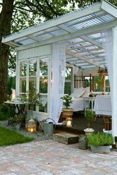 Image result for corrugated plastic roof  garden sheds