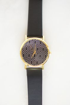 Dark Blue Geometric Watch Geometric Watch by WynterBloom on Etsy