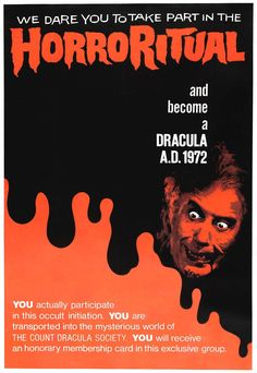 Dracula A. 1972 [Poster, 1 of 23 high-resolution movie posters in this group. Horror Posters, Film Posters, All That Heaven Allows, Scary Snakes, Count Dracula, Hammer Films, Fiction Movies, Famous Monsters, Gothic Horror