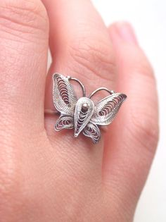 Filigree Butterfly Ring Sterling Silver Vintage by proteales