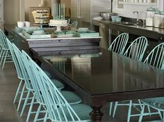 drd: dayka robinson designs: All About . . . Windsor Chairs. I like the painted chairs with a darker stained table