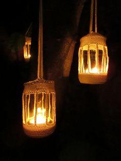 Moois van ' M(i)e': DIY : gehaakte sfeerlichtjes voor in de tuin versie 1 /crocheted garden candle lights version 1