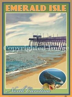 Emerald Isle North Carolina Art Deco Style Vintage Travel Poster by Aurelio Grisanty by Beach Town Posters, http://www.amazon.com/dp/B003FBTVRY/ref=cm_sw_r_pi_dp_PRObrb0P1CJTW