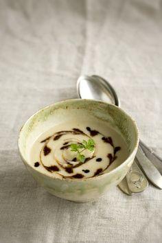 crema de judias blancas y coliflor con reducción de balsámico y miel