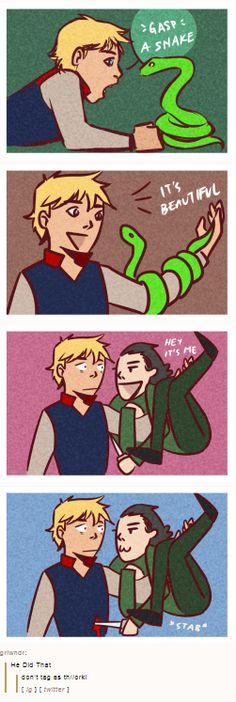 Loki stabbing Thor. I love any and all artist renditions of this.