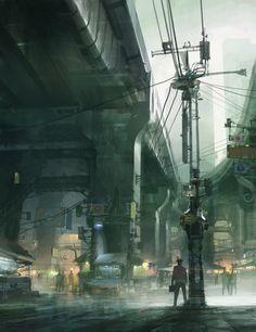 Market Under the Railway, Theo Prins on ArtStation at https://www.artstation.com/artwork/D5OVe
