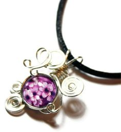 Wire Wrap Handmade Cherry Blossom Cabochon Pendant with Necklace. $25.00, via Etsy.