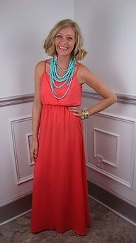 Maxi and statement necklace. Perfect colors for summer!