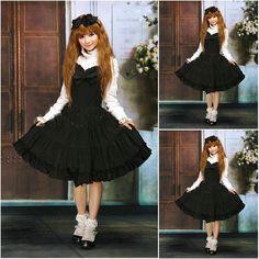 Freeshipping! V-1025 Black Cotton knielanges langen ärmeln Gothic Lolita Kleid schuluniform Cosplay Cocktailkleid Alle größe //Price: $US $93.10 & FREE Shipping //     #clknetwork