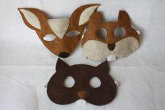 Woodland Masks- Set of 3- Beaver, Deer, Squirrel- CHILD.
