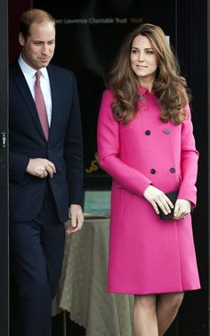 Duchess of Cambridge in pink Mulberry coat