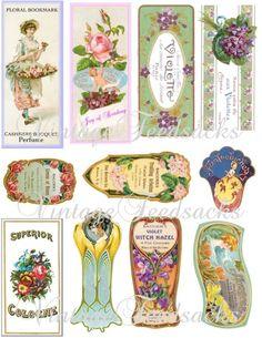 Digital Collage Sheet - Vintage Perfume Label Digital Download .66p