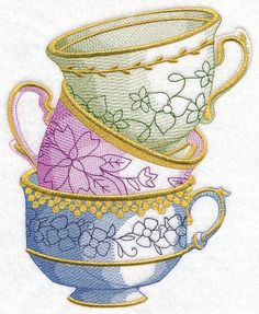 Antique Teacup Stack design (M10805) from www.Emblibrary.com