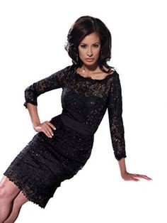 Social Occasions 114824 Long Sleeve Beaded Lace Cocktail Dress, Black, 14 - Sheer Scoop Neckline; 3/4 Sheer Sleeves; Beaded, Short Slim Sheath Skirt