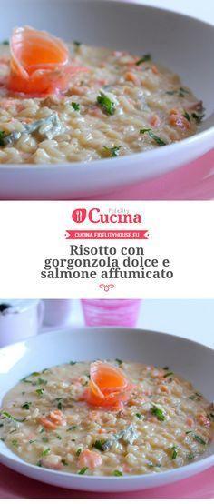 Risotto con salmón y gorgonzola. Best Pasta Dishes, Best Pasta Salad, Pasta Dinner Recipes, Easy Pasta Recipes, Rice Dishes, Seafood Recipes, Healthy Recipes, Italian Menu, Italian Recipes