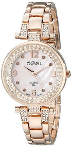 August Steiner Women's AS8137RG Analog Display Swiss Quartz Rose Gold Watch - Jewelry For Her