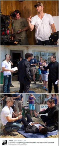 Pics of Jensen directing 10x03 :)