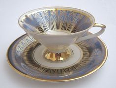 Art Deco Teacup and Saucer ♥ by Johann Seltmann Vohenstraub Bavaria German Blue Gold White Fine China