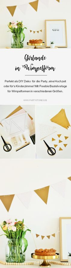 DIY Girlande als Wimpelkette: so einfach und schnell kannst Du eine schöne Girlande in Wimpelform als Deko aus Papier für die Party, den Geburtstag oder die Hochzeit selber machen